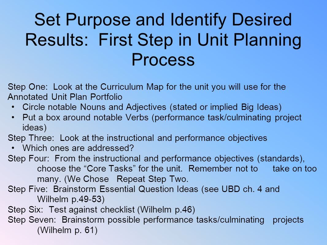 Set Purpose and Identify Desired Results: First Step in Unit Planning Process