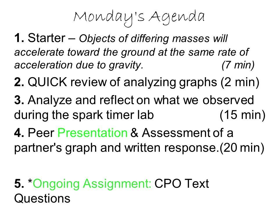 Monday s Agenda