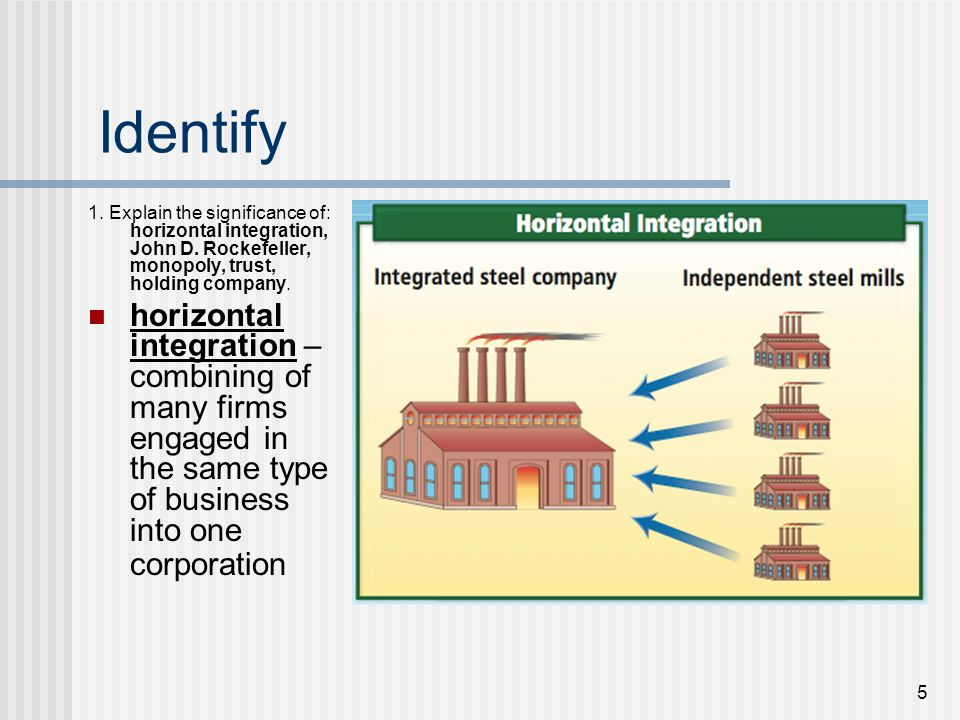 Identify 1. Explain the significance of: horizontal integration, John D. Rockefeller, monopoly, trust, holding company.