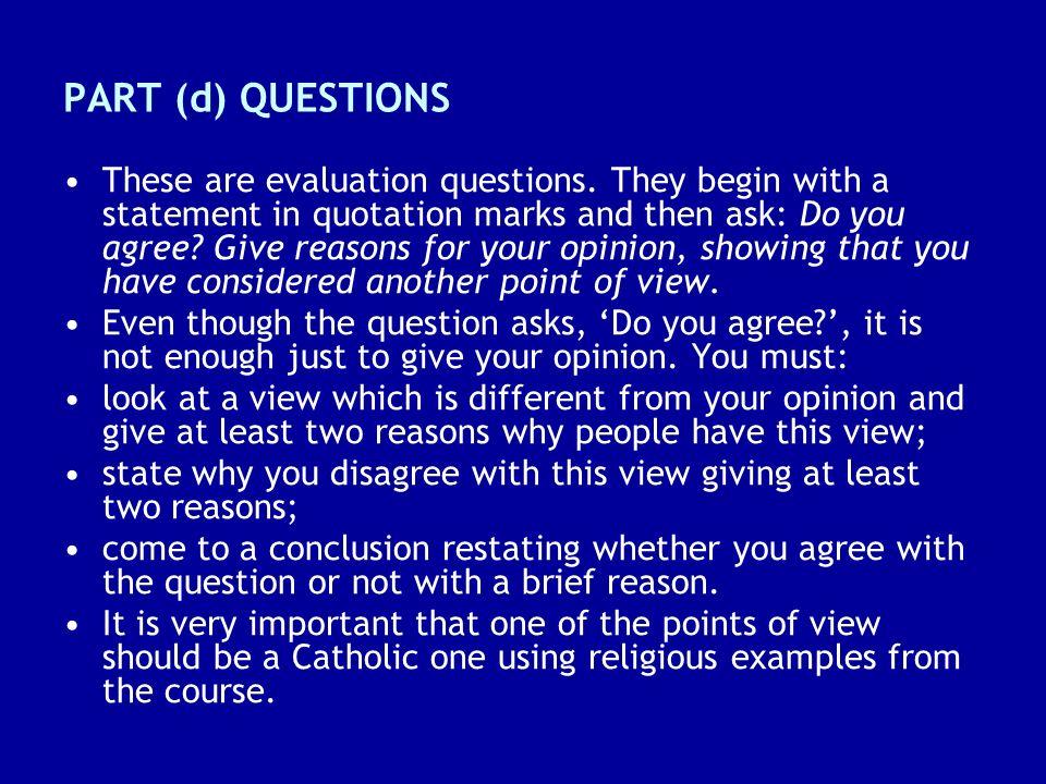 PART (d) QUESTIONS