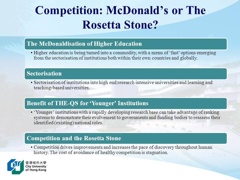 Competition: McDonald's or The Rosetta Stone