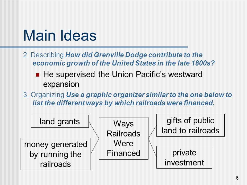 Main Ideas He supervised the Union Pacific's westward expansion