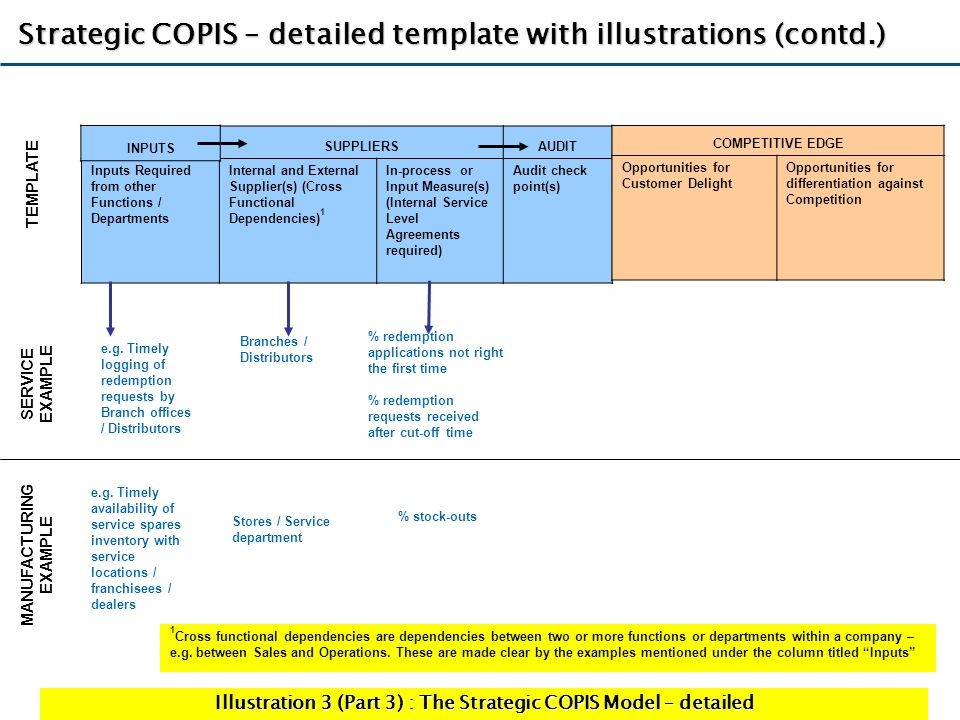 Strategic COPIS – detailed template with illustrations (contd.)