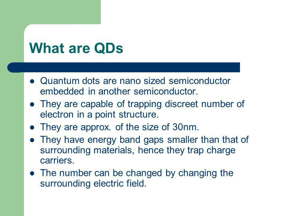 What are QDs Quantum dots are nano sized semiconductor embedded in another semiconductor.
