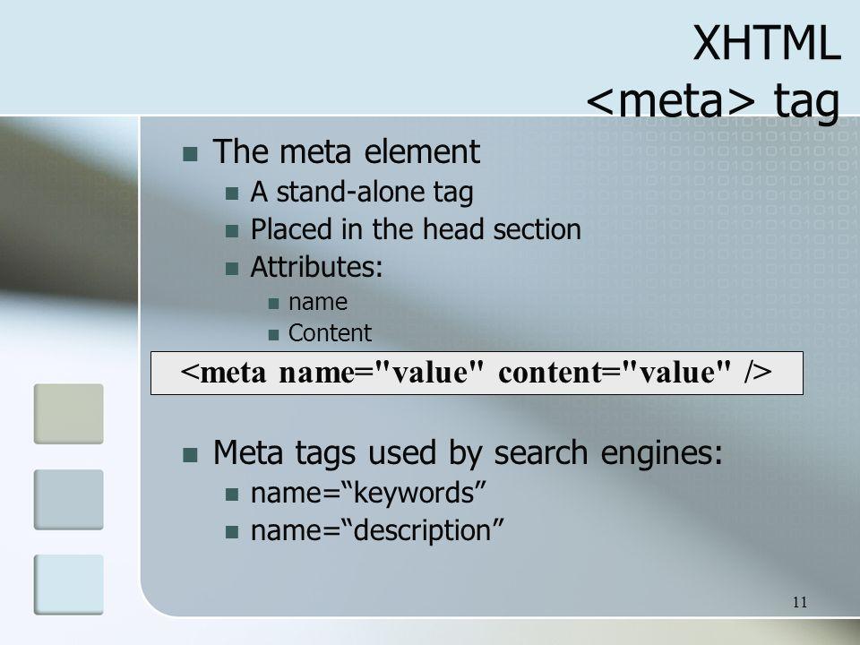 XHTML <meta> tag