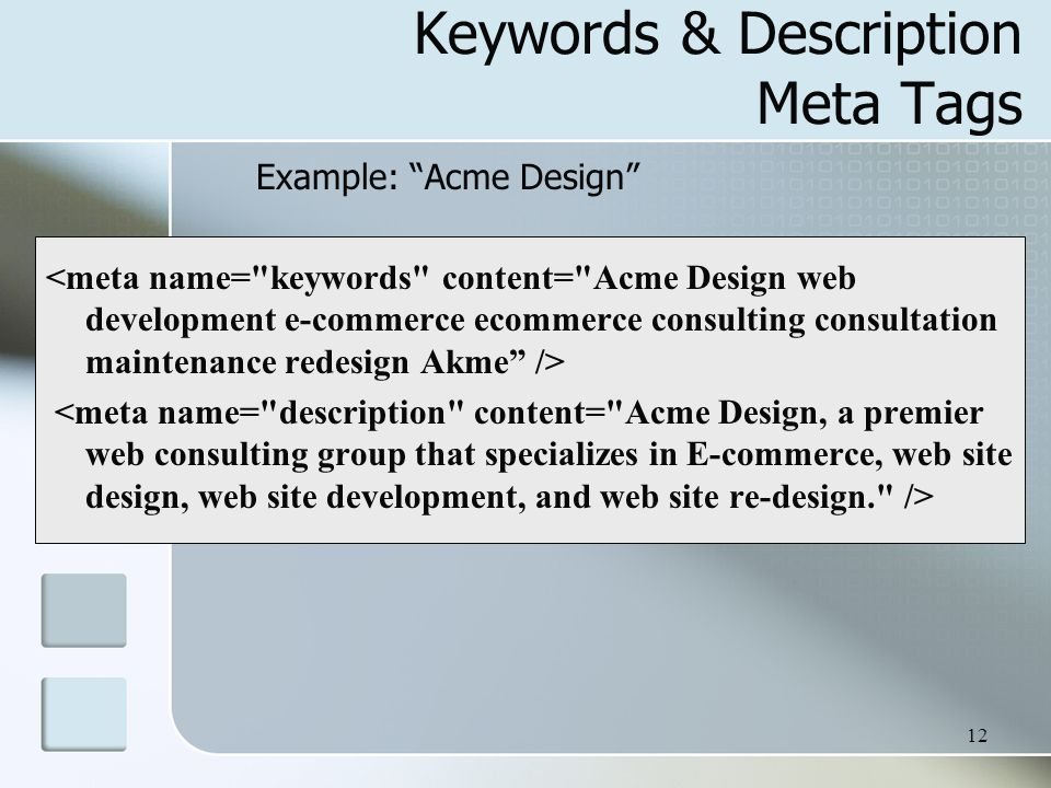 Keywords & Description Meta Tags