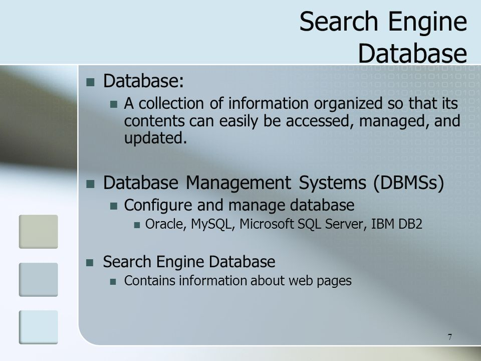 Search Engine Database