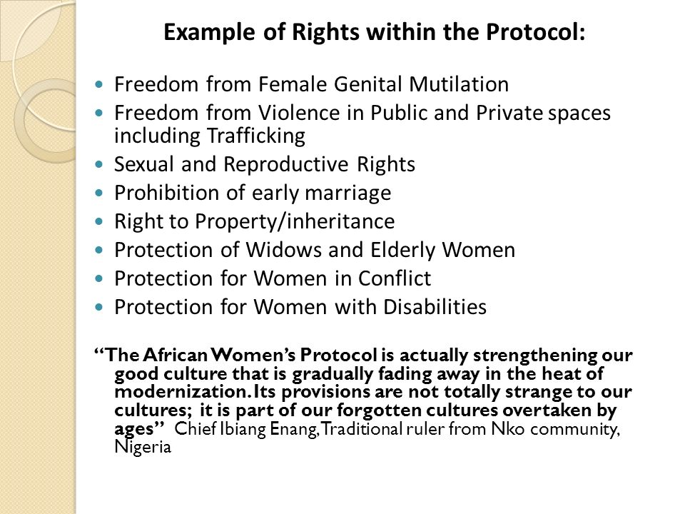 Example of Rights within the Protocol:
