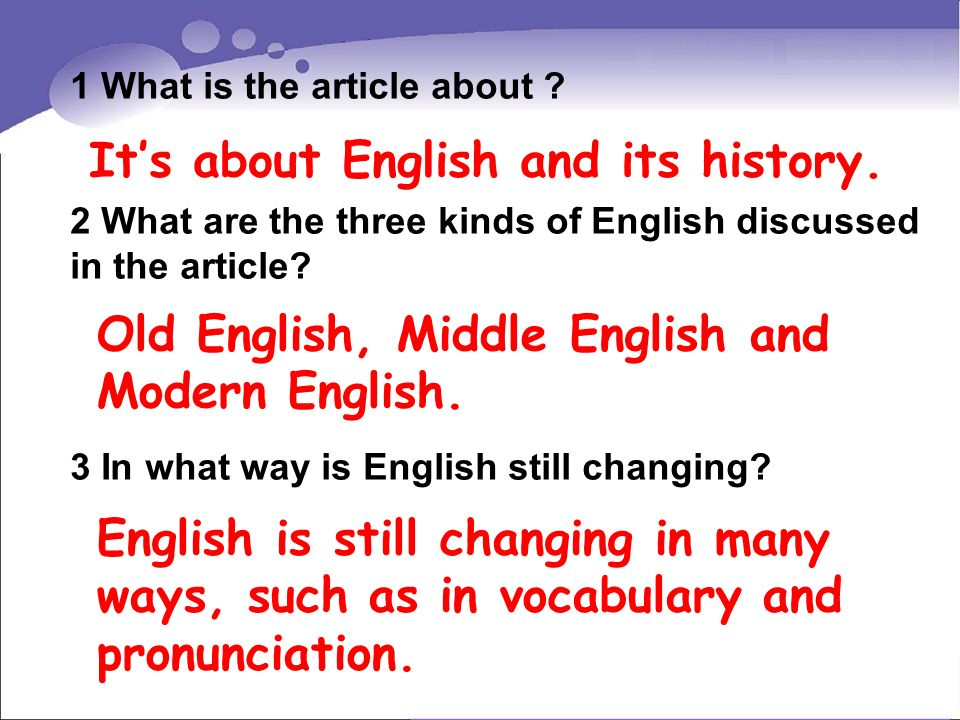 It's about English and its history.