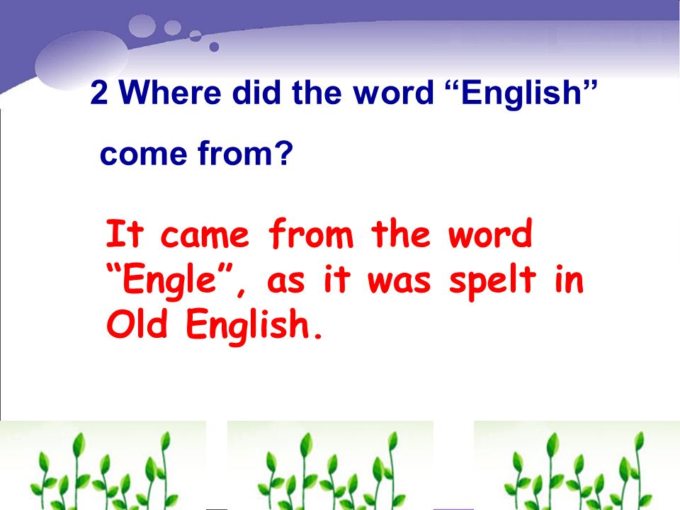 It came from the word Engle , as it was spelt in Old English.