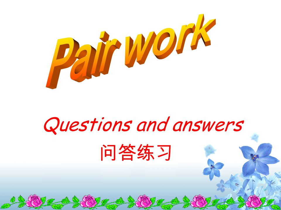 Pair work Questions and answers 问答练习