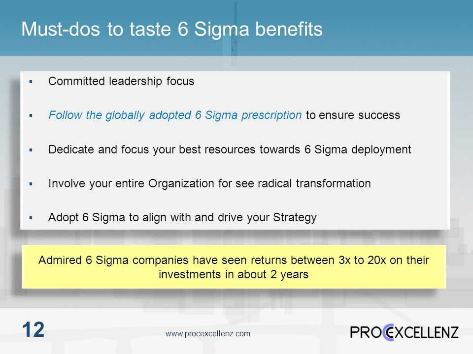 Must-dos to taste 6 Sigma benefits