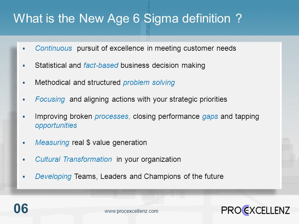 What is the New Age 6 Sigma definition