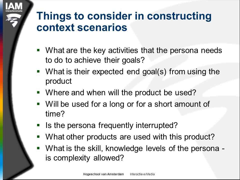 Things to consider in constructing context scenarios