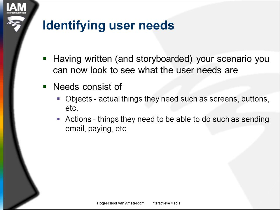 Identifying user needs