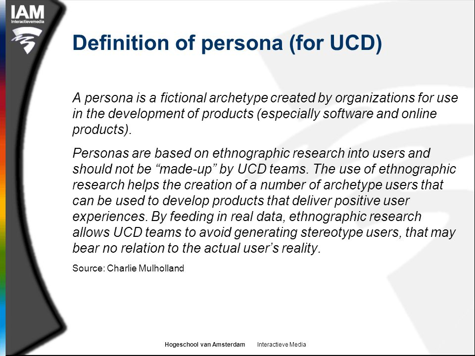 Definition of persona (for UCD)