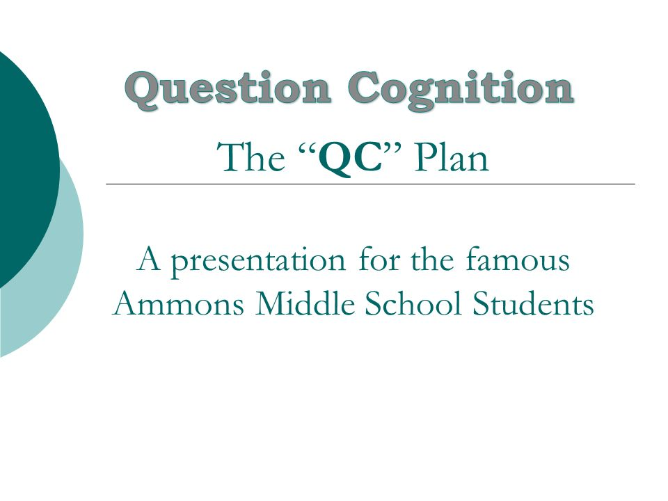 Question Cognition The QC Plan A presentation for the famous Ammons Middle School Students