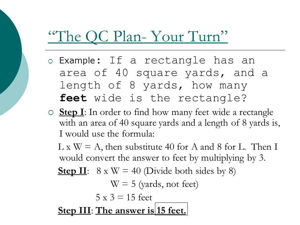 The QC Plan- Your Turn