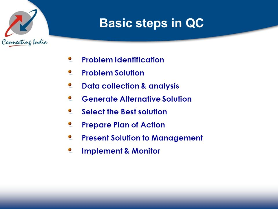 Basic steps in QC Problem Identification Problem Solution
