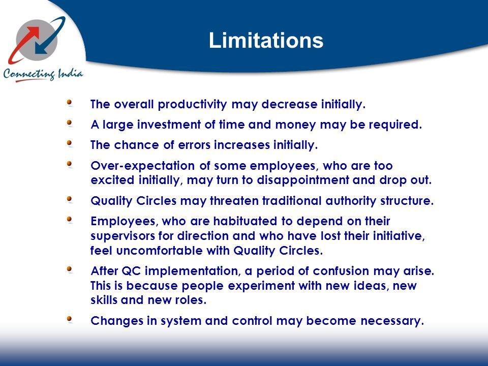 Limitations The overall productivity may decrease initially.