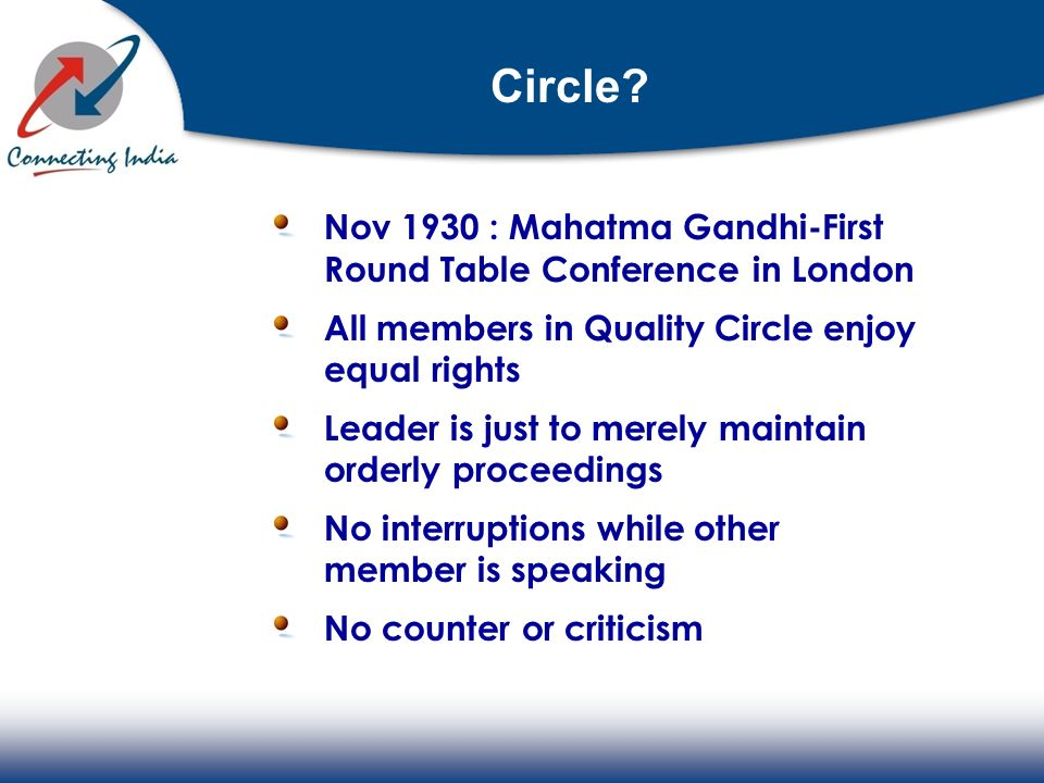 Circle Nov 1930 : Mahatma Gandhi-First Round Table Conference in London. All members in Quality Circle enjoy equal rights.