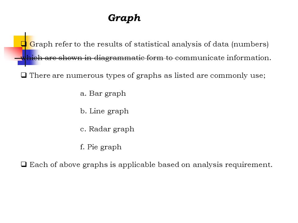 Graph Graph refer to the results of statistical analysis of data (numbers) which are shown in diagrammatic form to communicate information.