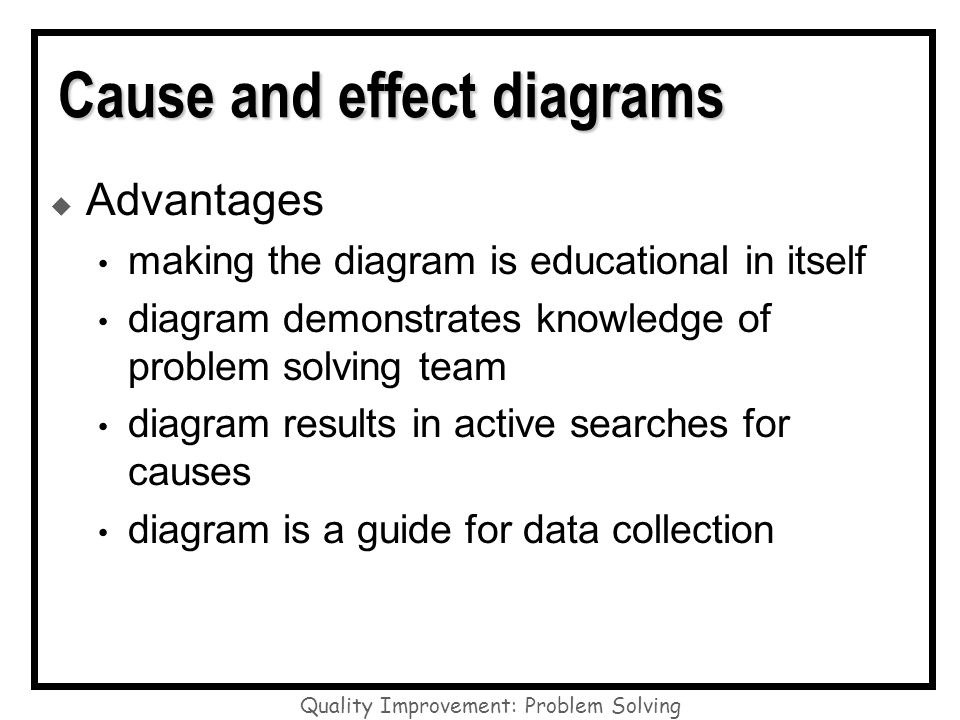 Cause and effect diagrams