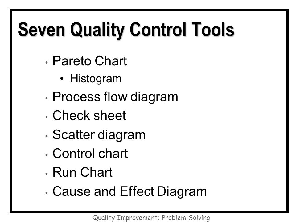 seven quality control tools The seven quality control tools can be easily created in excel with this add-in get a 30 day trial of qi macros software today to create these 7 qc tools.