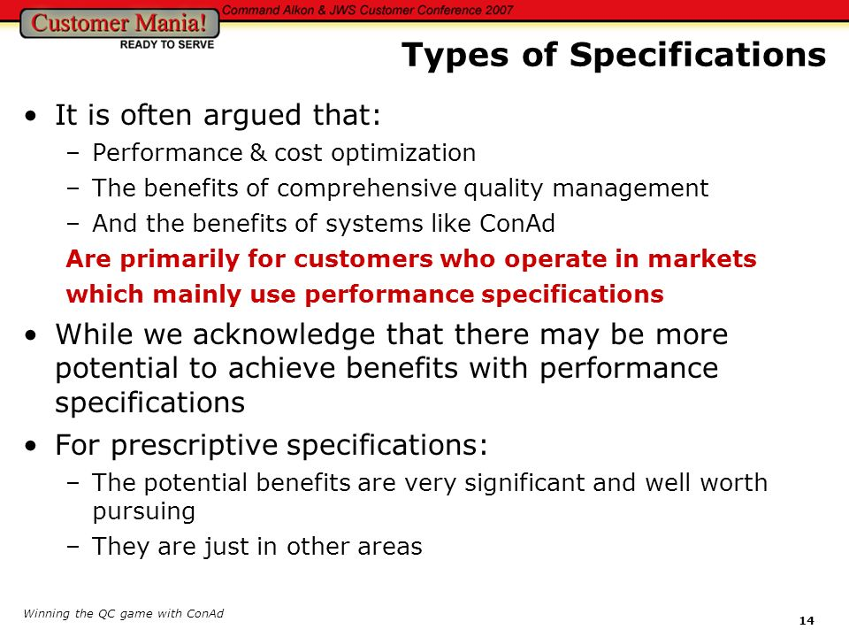 Types of Specifications