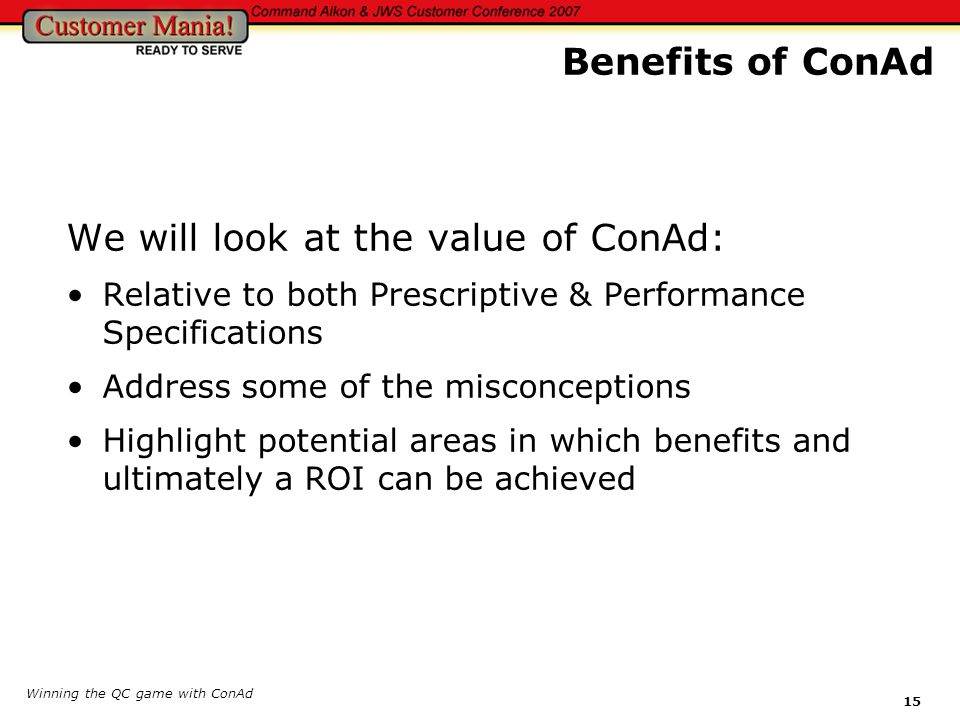 We will look at the value of ConAd: