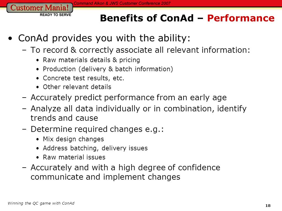 Benefits of ConAd – Performance