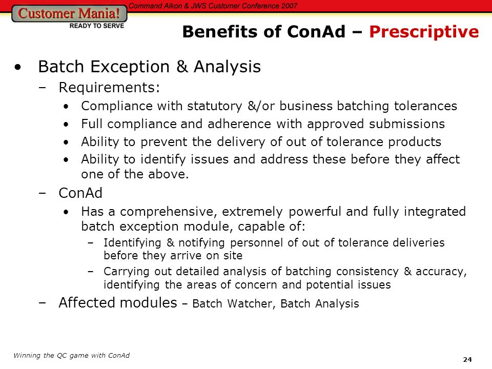 Benefits of ConAd – Prescriptive