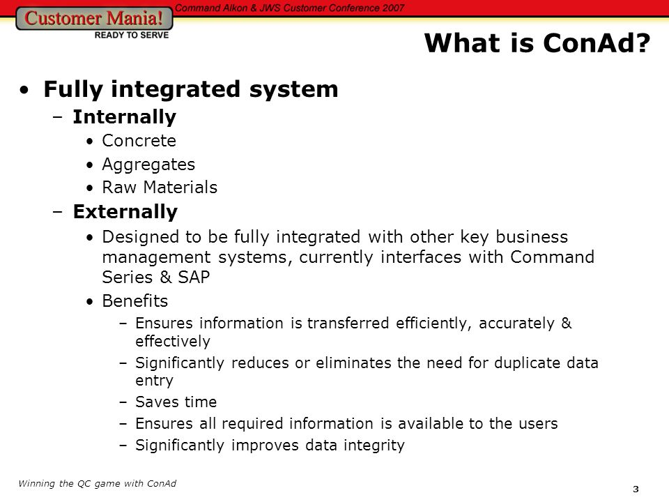 What is ConAd Fully integrated system Internally Externally Concrete