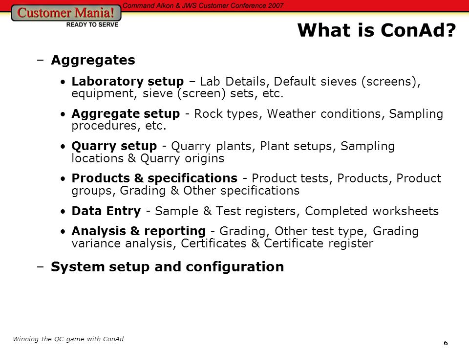 What is ConAd Aggregates System setup and configuration