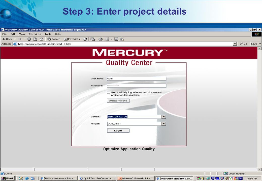 Step 3: Enter project details