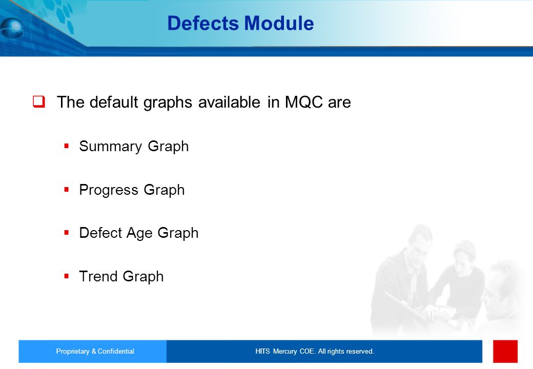 Defects Module The default graphs available in MQC are Summary Graph