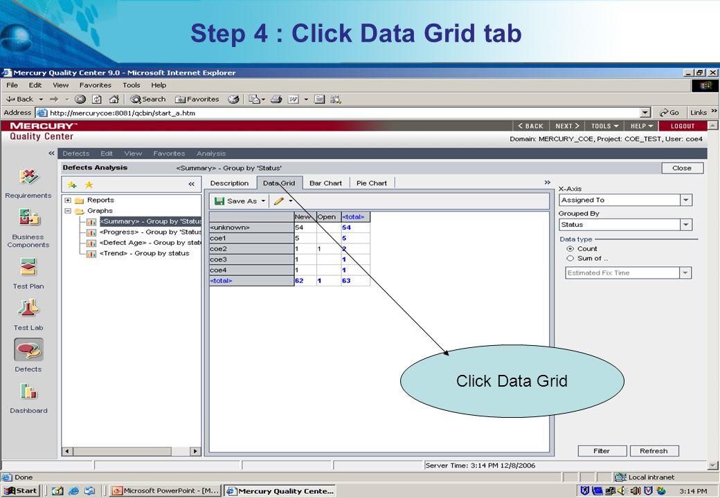 Step 4 : Click Data Grid tab
