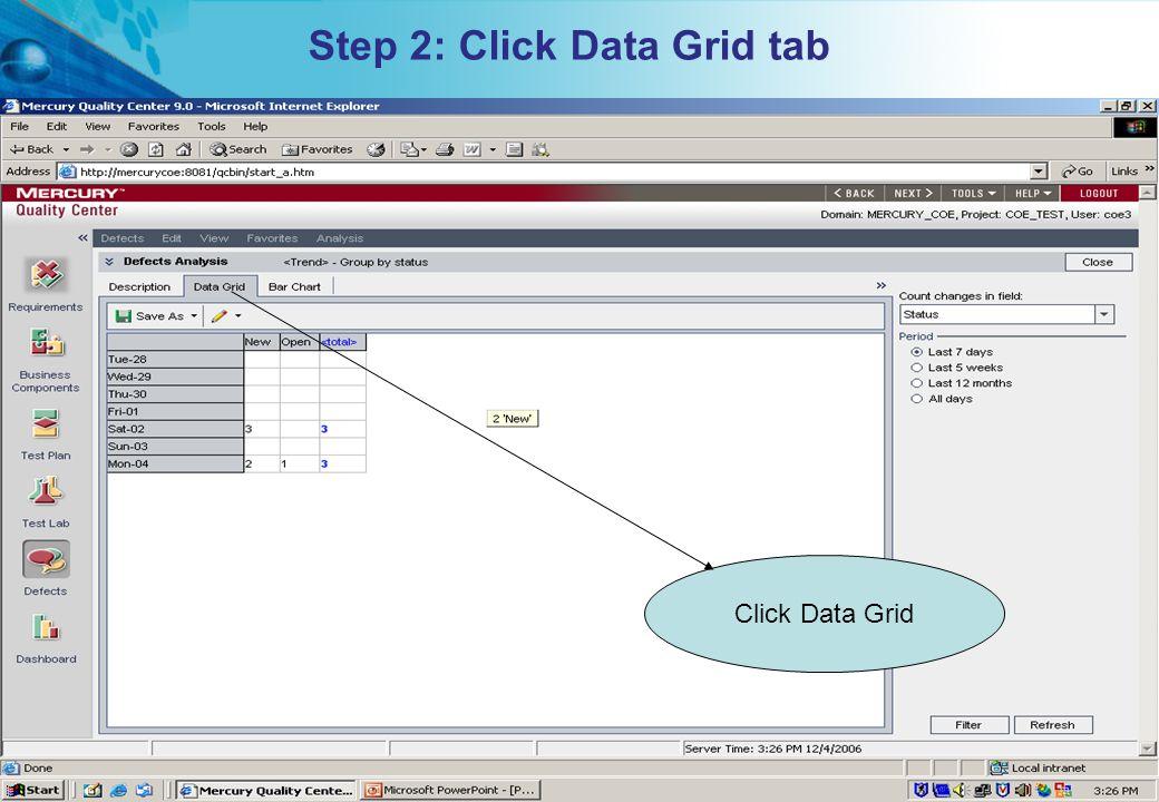 Step 2: Click Data Grid tab