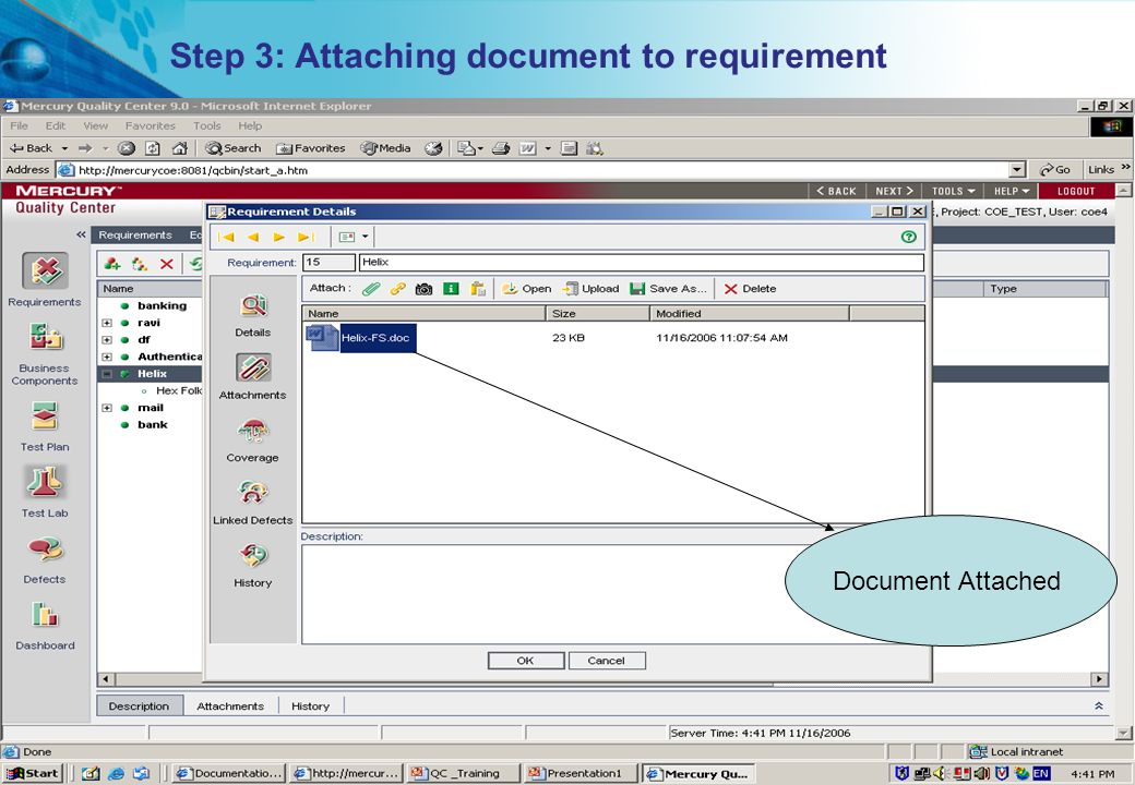 Step 3: Attaching document to requirement