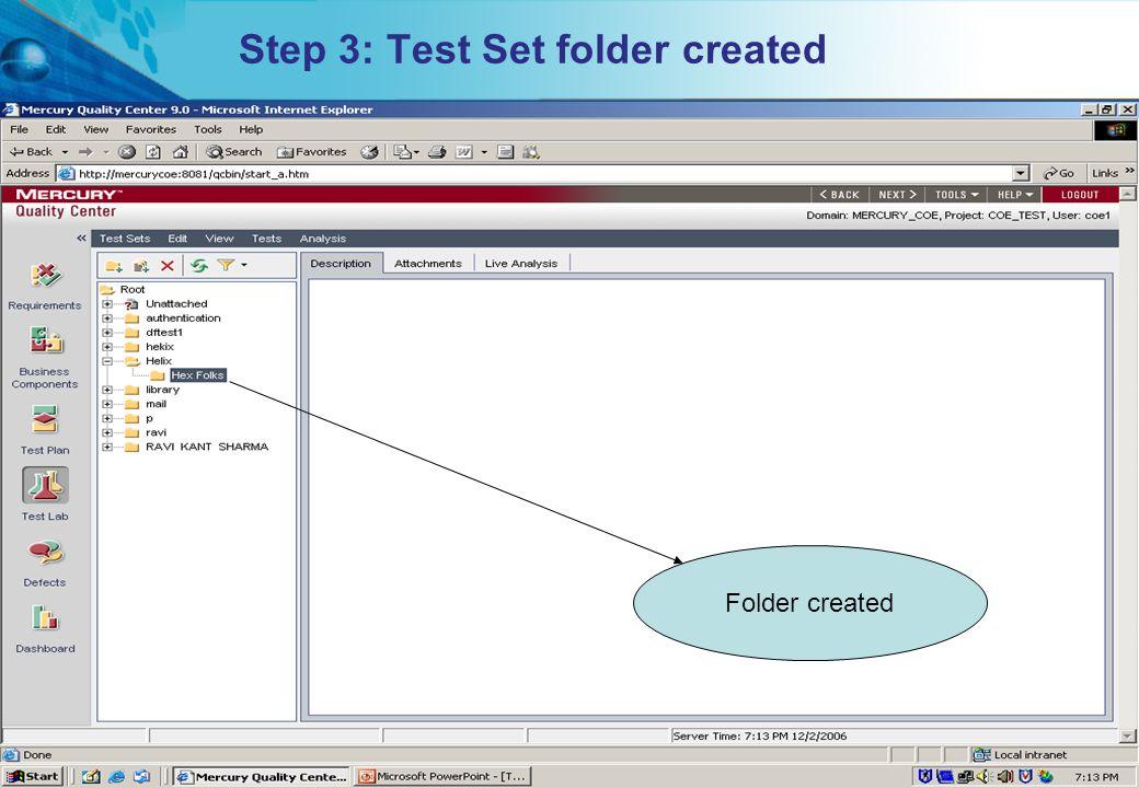 Step 3: Test Set folder created