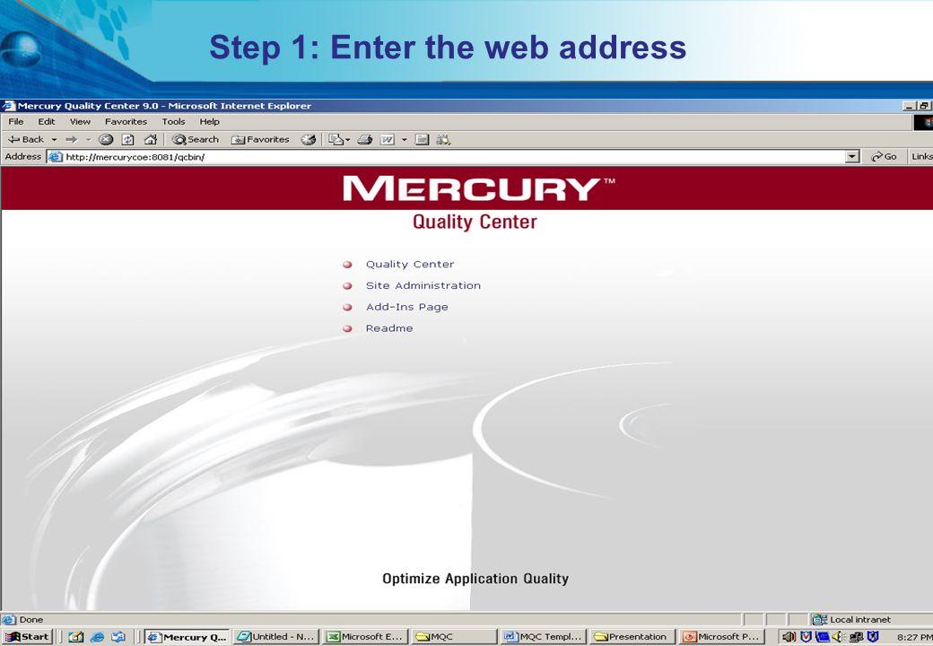 Step 1: Enter the web address