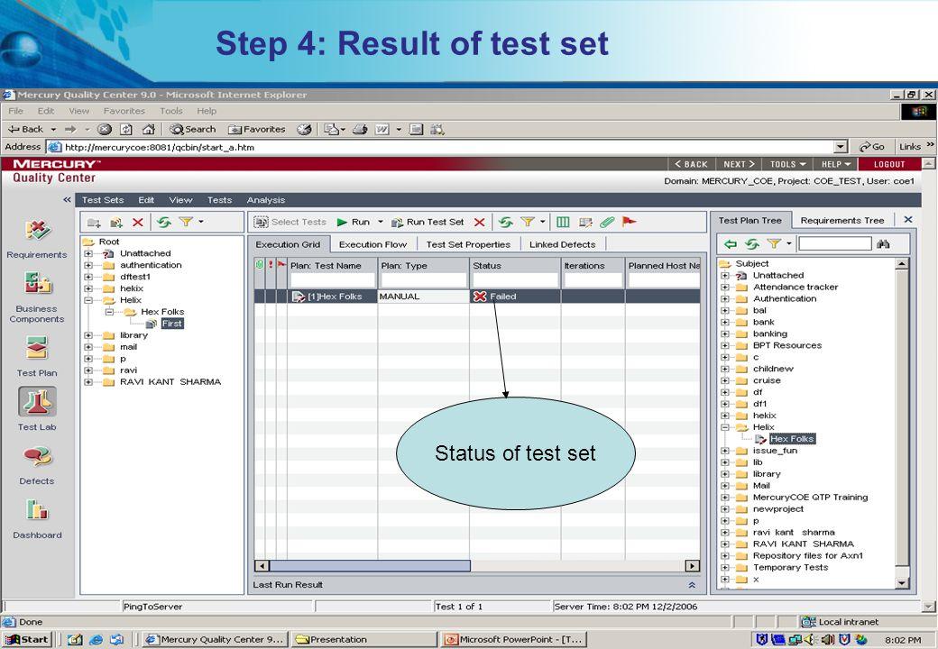 Step 4: Result of test set