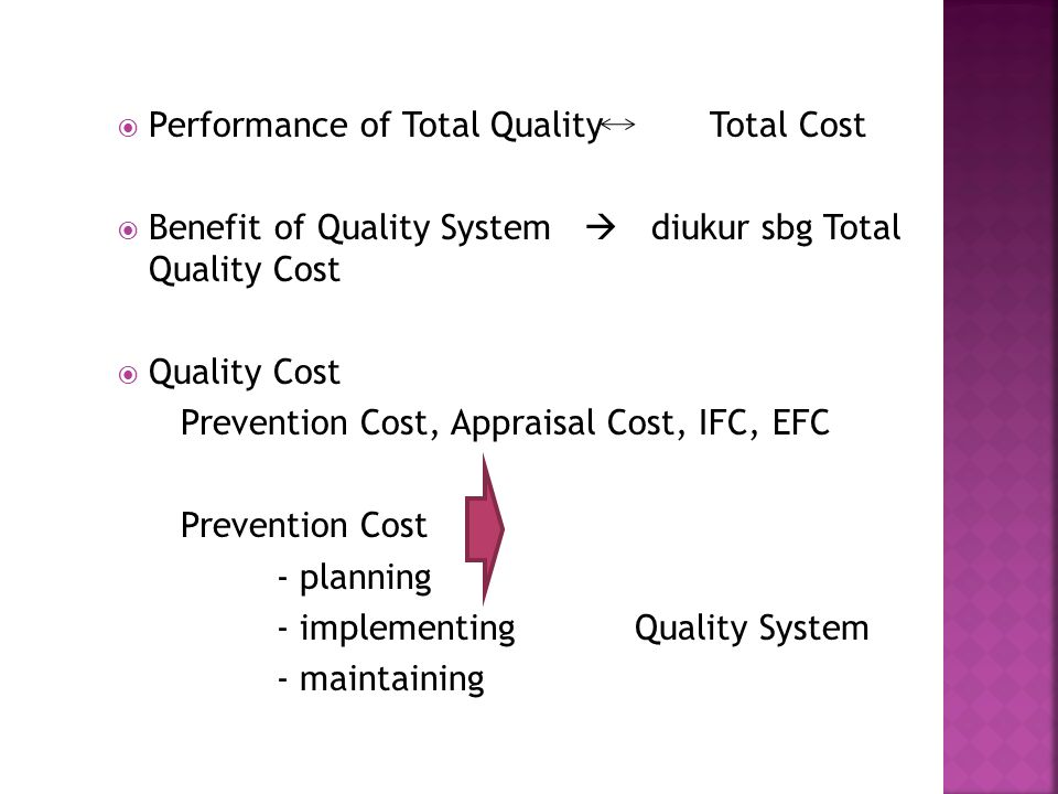 Performance of Total Quality Total Cost