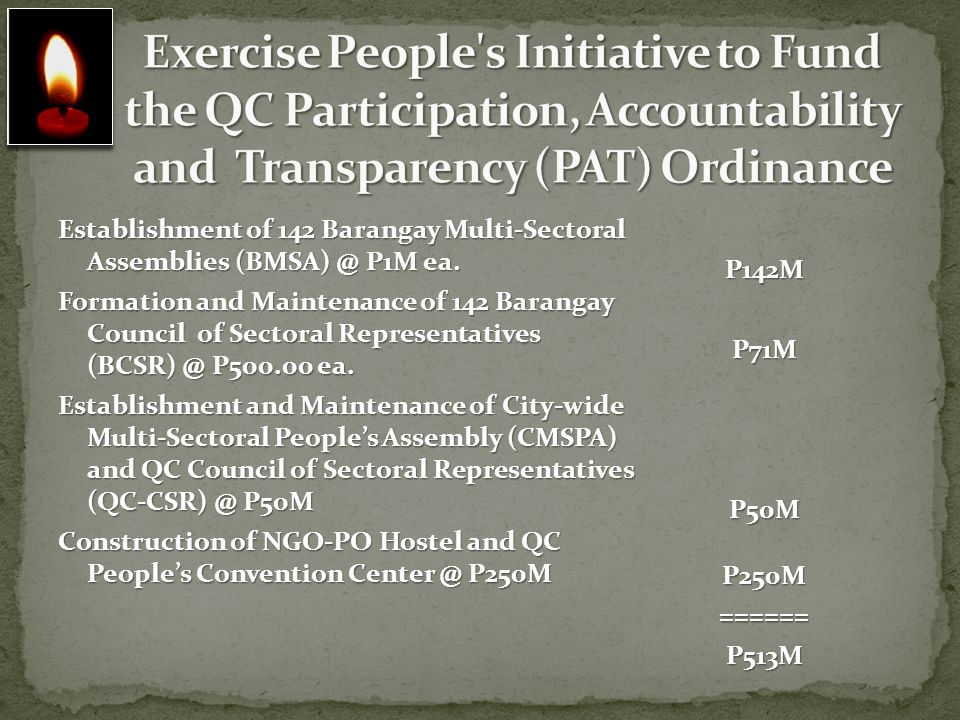 Exercise People s Initiative to Fund the QC Participation, Accountability and Transparency (PAT) Ordinance