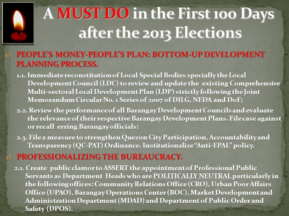 A MUST DO in the First 100 Days after the 2013 Elections