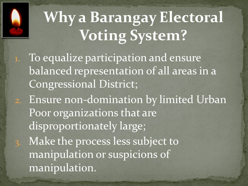 Why a Barangay Electoral Voting System