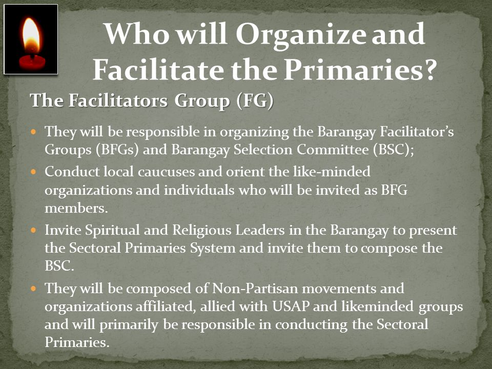 Who will Organize and Facilitate the Primaries