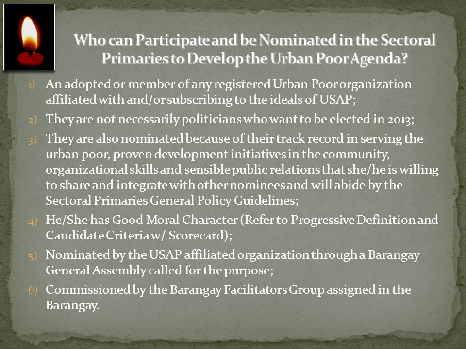 Who can Participate and be Nominated in the Sectoral Primaries to Develop the Urban Poor Agenda