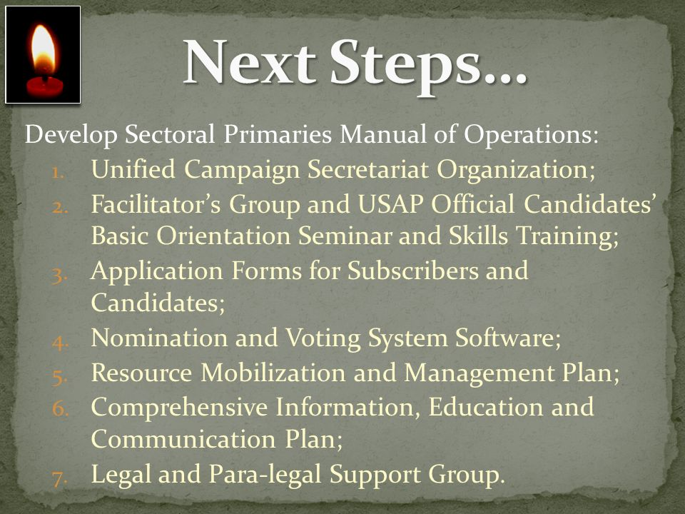 Next Steps… Develop Sectoral Primaries Manual of Operations: