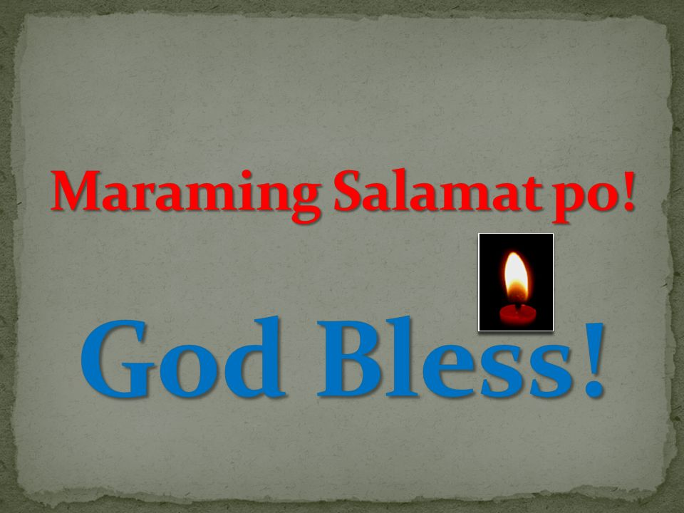 Maraming Salamat po! God Bless!